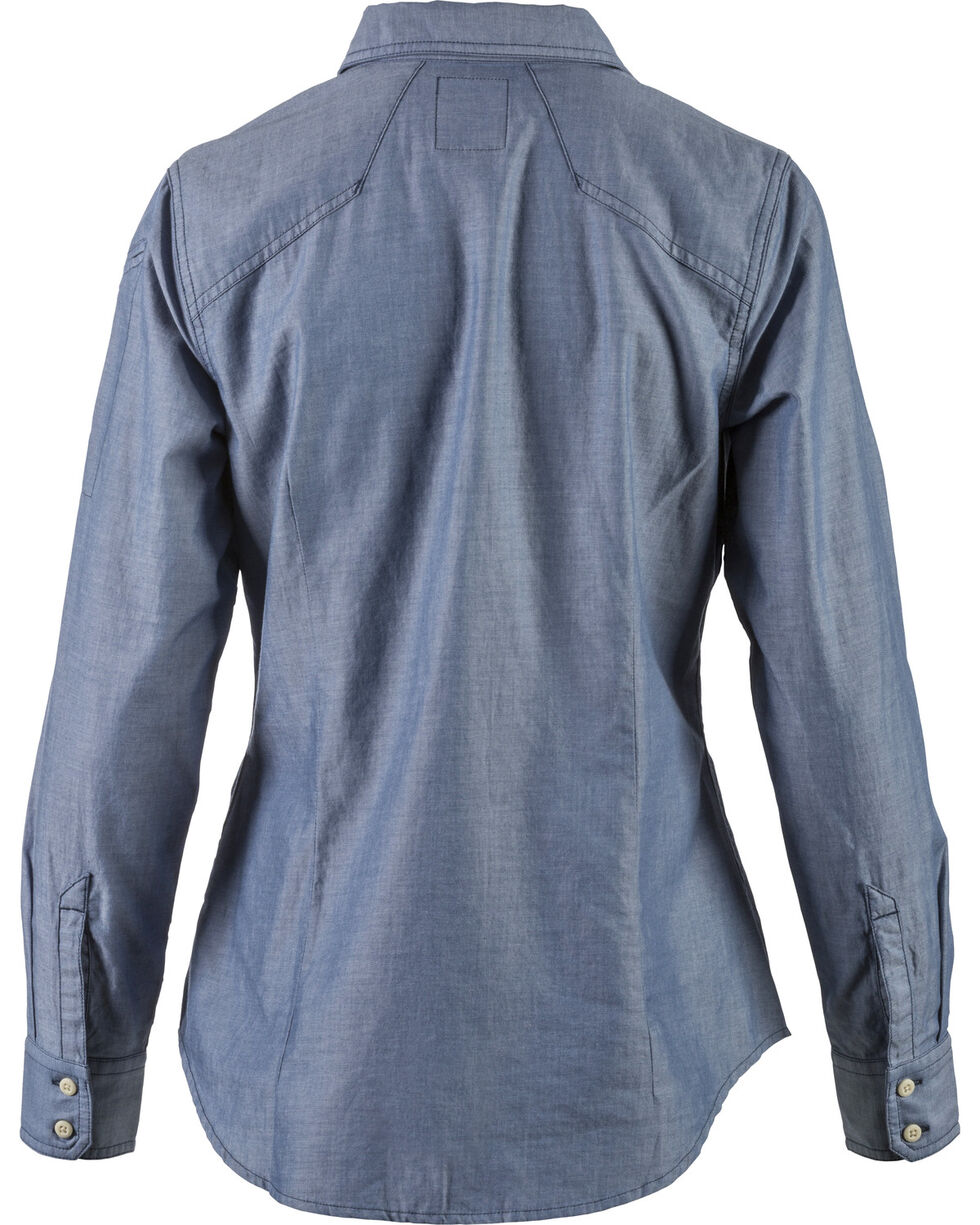 5.11 Tactical Women's Chambray Shirt , Indigo, hi-res