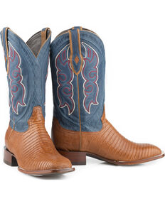 Stetson Men's Tan Teju Lizard Cowboy Boots - Square Toe , Tan, hi-res