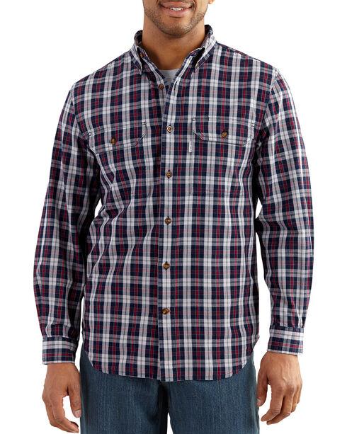 Carhartt Men's Navy Plaid Fort Long Sleeve Shirt , Navy, hi-res