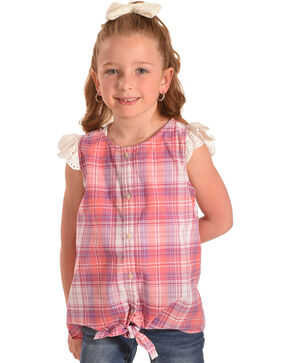 Shyanne Girls' Pink Plaid Ruffle Sleeve Tie Front Shirt , Coral, hi-res