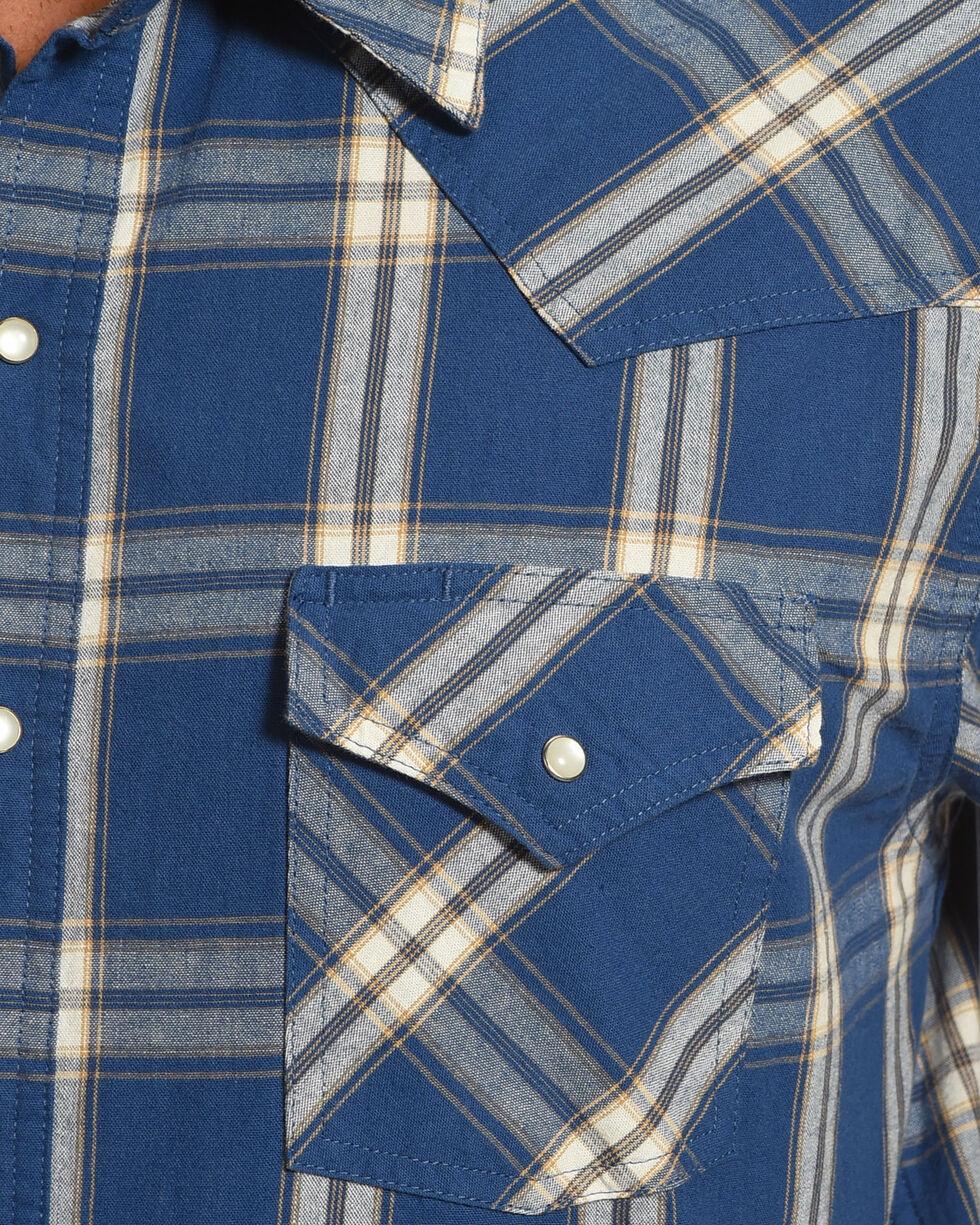 Ely Cattleman Men's Blue Yarn Dyed Denim Long Sleeve Shirt , Blue, hi-res