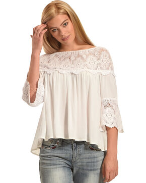 Young Essence Women's Lace Off-the-Shoulder Peasant Top, White, hi-res