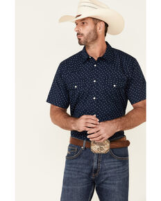 Gibson Men's Frontier Small Floral Print Short Sleeve Snap Western Shirt , Navy, hi-res