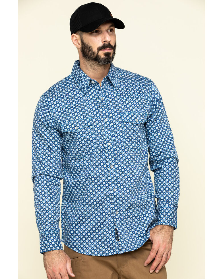 Rock & Roll Denim Men's FR Printed Medallion Twill Long Sleeve Work Shirt , Blue, hi-res