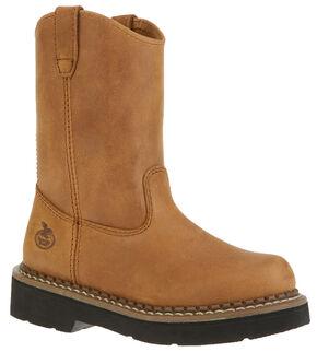 Georgia Youth Boys' Wellington Boots - Round Toe, Brown, hi-res