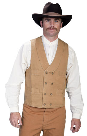 Rangewear by Scully Cotton Canvas Double Breasted Vest, Brown, hi-res