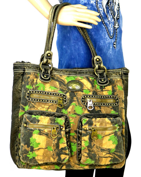 Montana West Camo Stone Washed Canvas Tote, Green, hi-res
