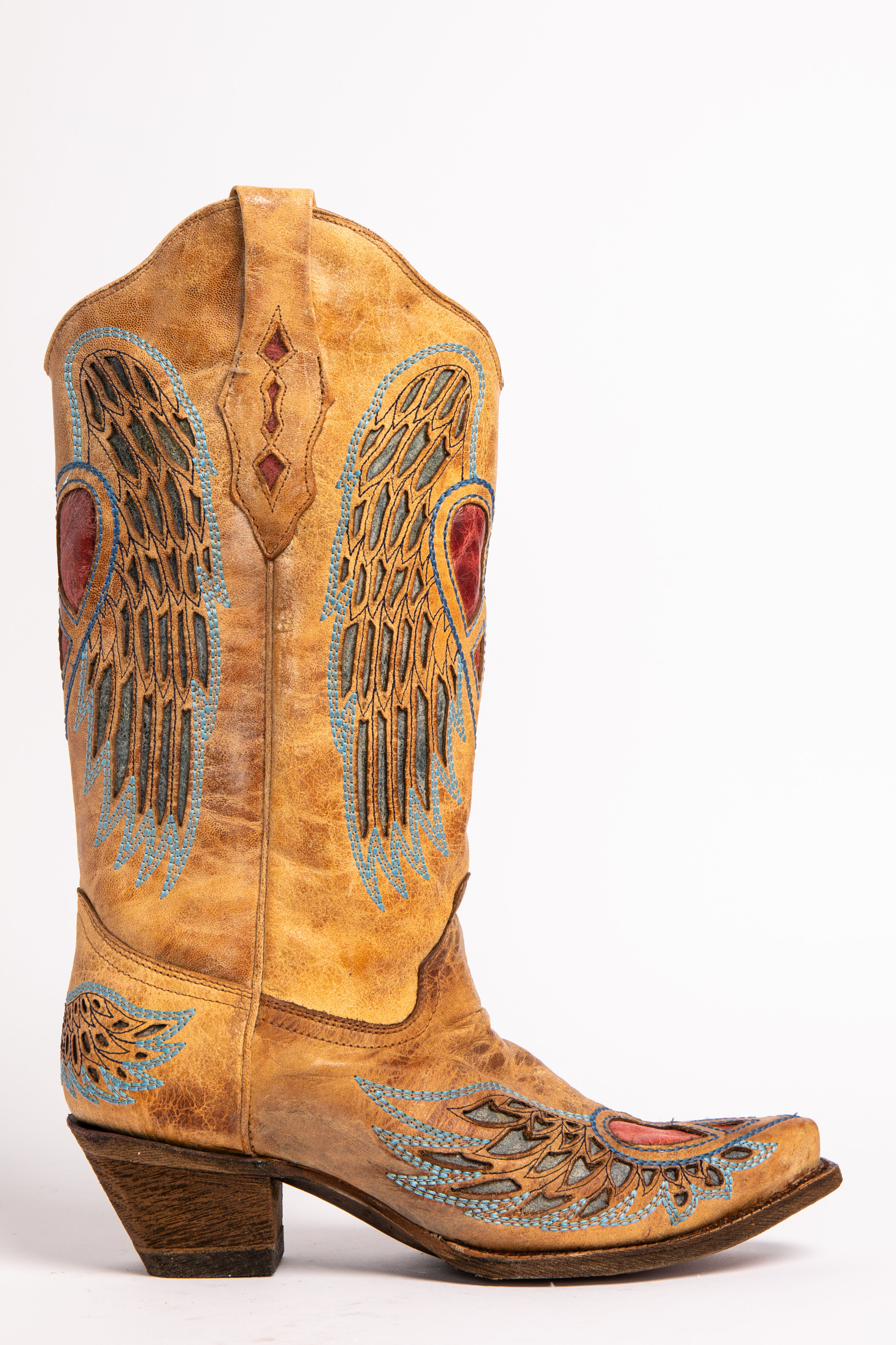 Corral Heart Angel Wing Cowboy Boots Snip Toe