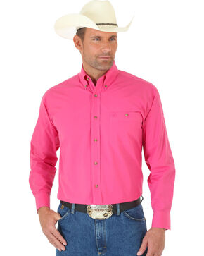Wrangler George Strait Men's Pink Long Sleeve Shirt - Tall, Pink, hi-res