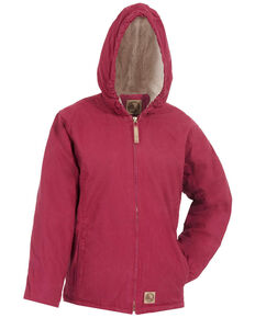 Berne Girls' Washed Sherpa-Lined Hooded Jacket, Bright Pink, hi-res