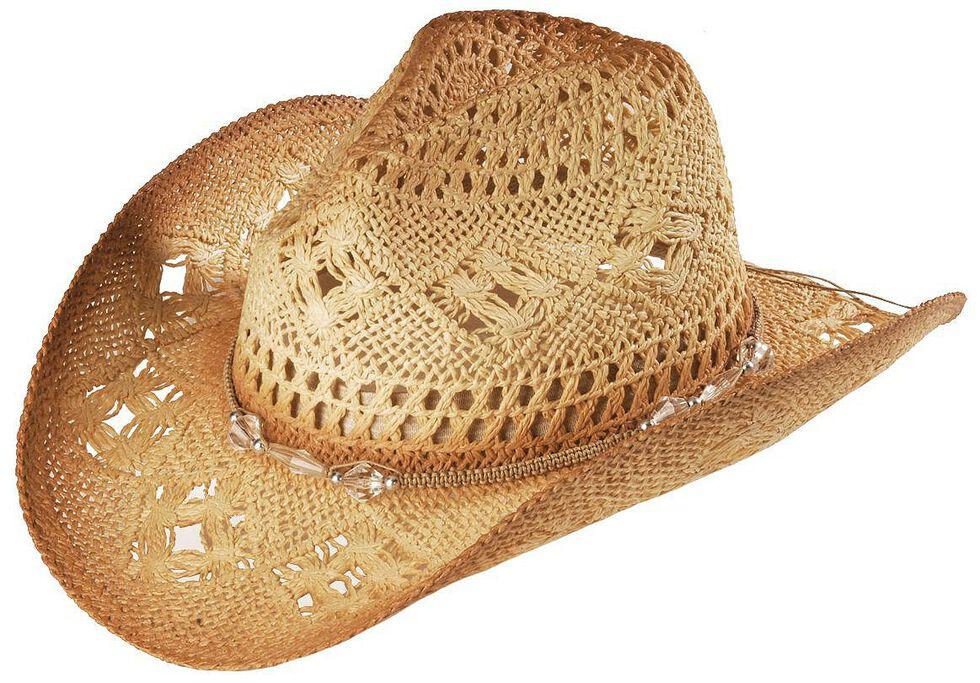 Bead Embellished Straw Cowboy Hat, Tea, hi-res