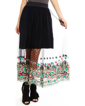 Aratta Women's Black Dancing Around Maxi Skirt , Black, hi-res