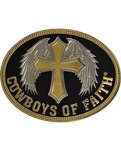 Montana Silversmiths Cowboys of Faith Belt Buckle, Silver, hi-res