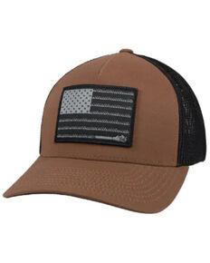 HOOey Men's Brown & Black Liberty Roper Flag Patch Mesh-Back Ball Cap , Brown, hi-res