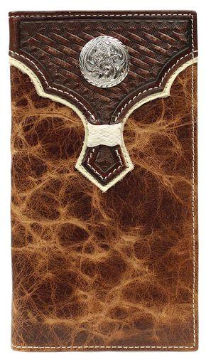 Nocona Basketweave w/ Concho Overlay Rodeo Wallet, Brown, hi-res