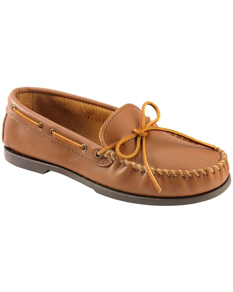 Men's Minnetonka Camp Moccasins - XL, Maple, hi-res
