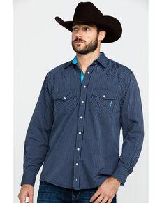 Resistol Men's Windsong Striped Long Sleeve Western Shirt , Navy, hi-res