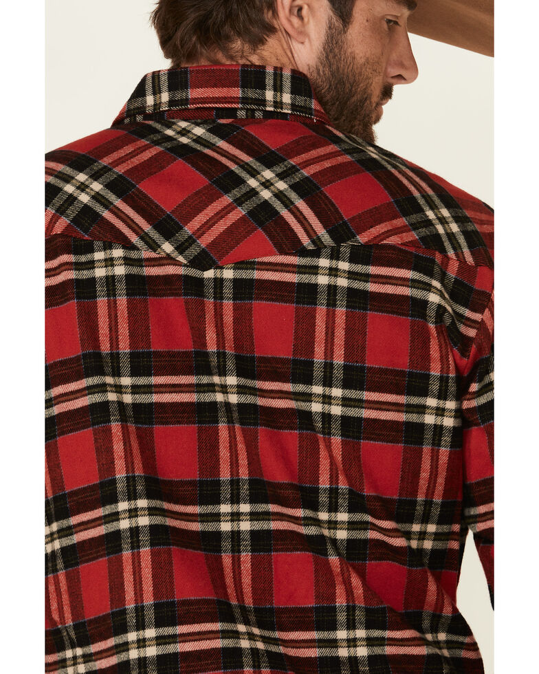 Ely Walker Men's Brawny Flannel Long Sleeve Western Shirt - Tall , Red, hi-res
