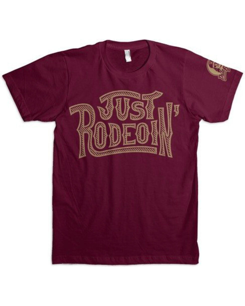Dale Brisby Men's Just Rodeoin' T-Shirt , Burgundy, hi-res