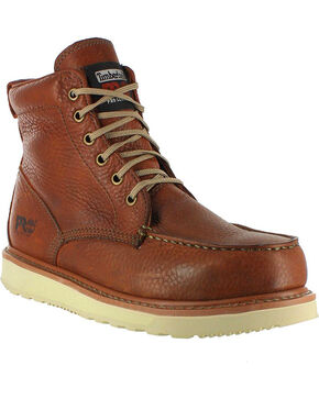 "Timberland PRO Men's 6"" Wedge Boots - Moc Toe, Brown, hi-res"