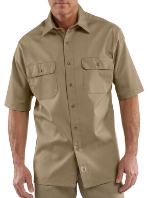 Carhartt Twill Work Short Sleeve Work Shirt - Big & Tall, Khaki, hi-res