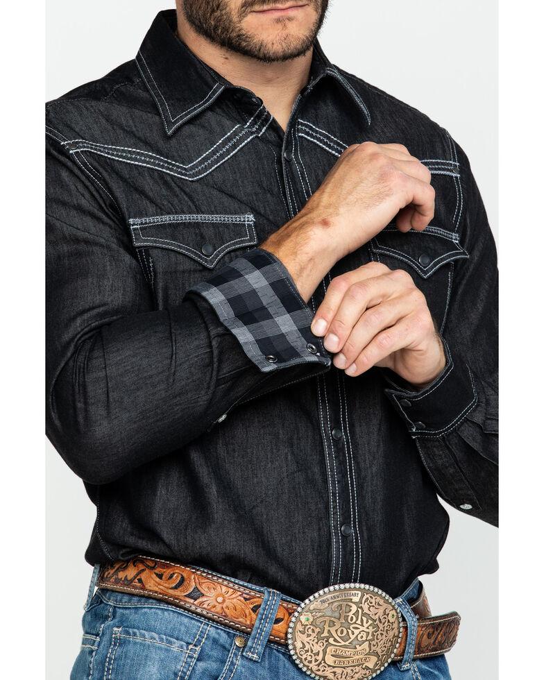Rock 47 By Wrangler Black Solid Snap Long Sleeve Western Shirt , Black, hi-res