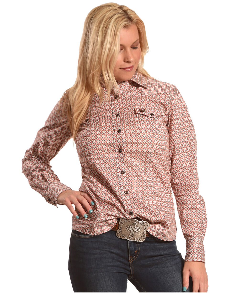 Cinch Women's Pink Diamond Geo Print Shirt , Purple, hi-res