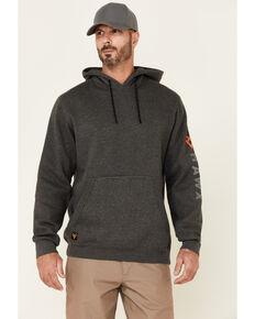 Hawx Men's Dark Grey Primo Logo Fleece-Lined Work Hooded Work Sweatshirt , Dark Grey, hi-res