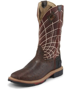Justin Men's Derrickman Ostrich Print Western Work Boots - Soft Toe, Rust Copper, hi-res