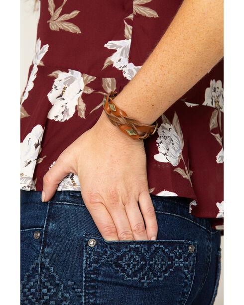 Shyanne Women's Diamond Stud Leather Wrap Bracelet, Gold, hi-res