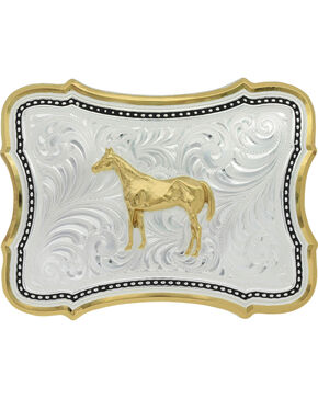 Montana Silversmiths Two-Tone Scalloped Standing Horse Belt Buckle , Silver, hi-res