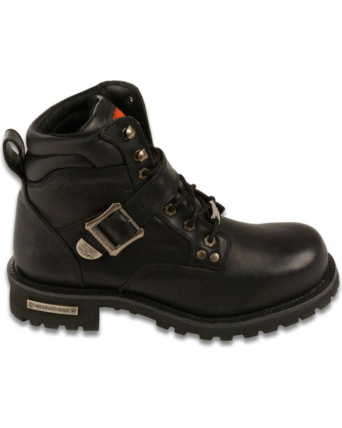 """Milwaukee Leather Men's 6"""" Side Buckle Boots - Round Toe, Black, hi-res"""