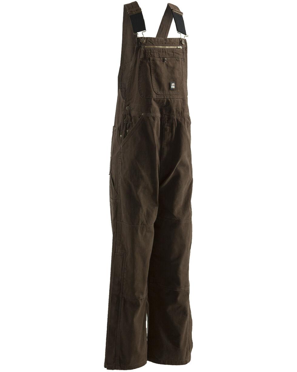 Berne Men's Unlined Washed Duck Bib Overalls - Short Size (30), Bark, hi-res