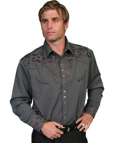 Scully Men's Grey Floral Embroidered Long Sleeve Western Shirt, Charcoal Grey, hi-res
