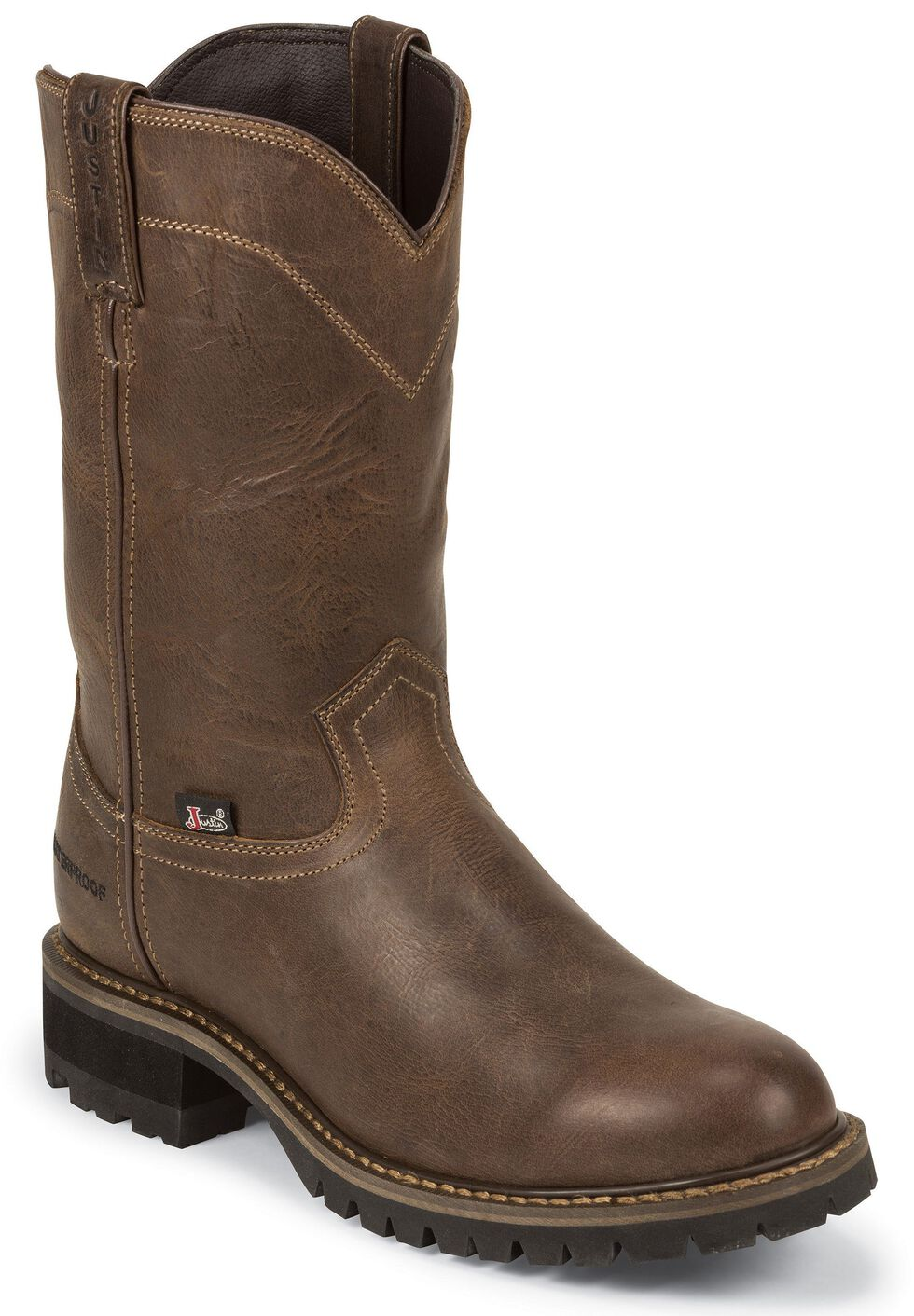 Justin Men's Abraham Waterproof Pull-On Work Boots - Soft Toe, Tan, hi-res