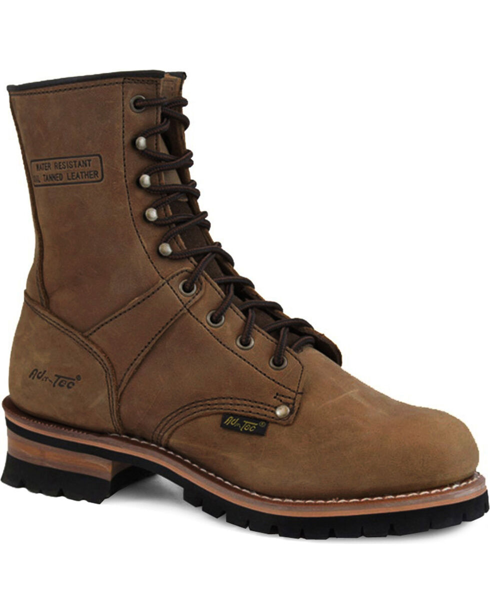 "Ad Tec Men's Brown Logger 9"" Work Boots - Soft Toe, Brown, hi-res"