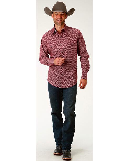 Roper Men's Red Arrow Long Sleeve Western Snap Shirt, Red, hi-res