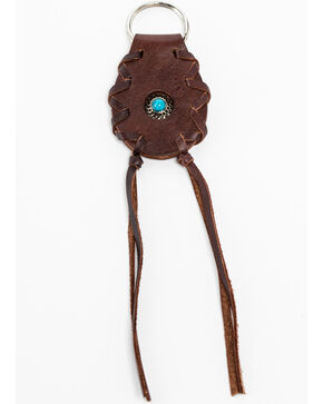Shyanne Brown Leather Concho & Tassel Key Chain, Brown, hi-res