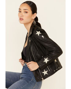 Mauritius Women's Black Cathleen Scattered Star Leather Jacket , Black, hi-res