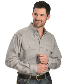 Ariat Men's Flame Resistant Solid Long Sleeve Work Shirt - Big & Tall, Silver, hi-res