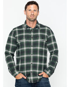 Filson Men's Vintage Flannel Work Shirt - Tall , Green, hi-res