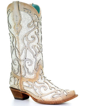 Corral Women's White Glitter Inlay Western Boots - Snip Toe, White, hi-res