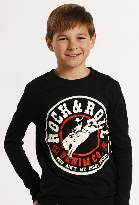 Rock and Roll Cowboy Boys' Black Rodeo Long Sleeve, Black, hi-res