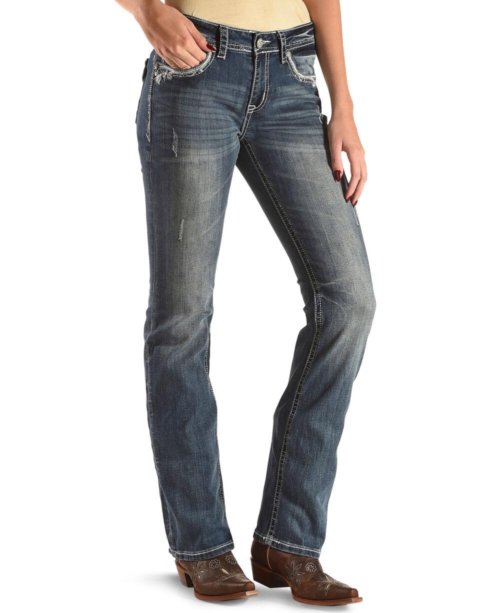 Grace in LA Women's Blue Scroll Paisley Flap Jeans - Boot Cut , Blue, hi-res