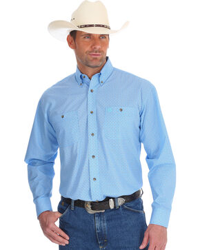 Wrangler Men's Blue George Strait Western Shirt , Blue, hi-res