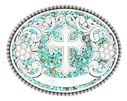 Nocona Faux Turquoise Stones & Cross Buckle, Silver, hi-res