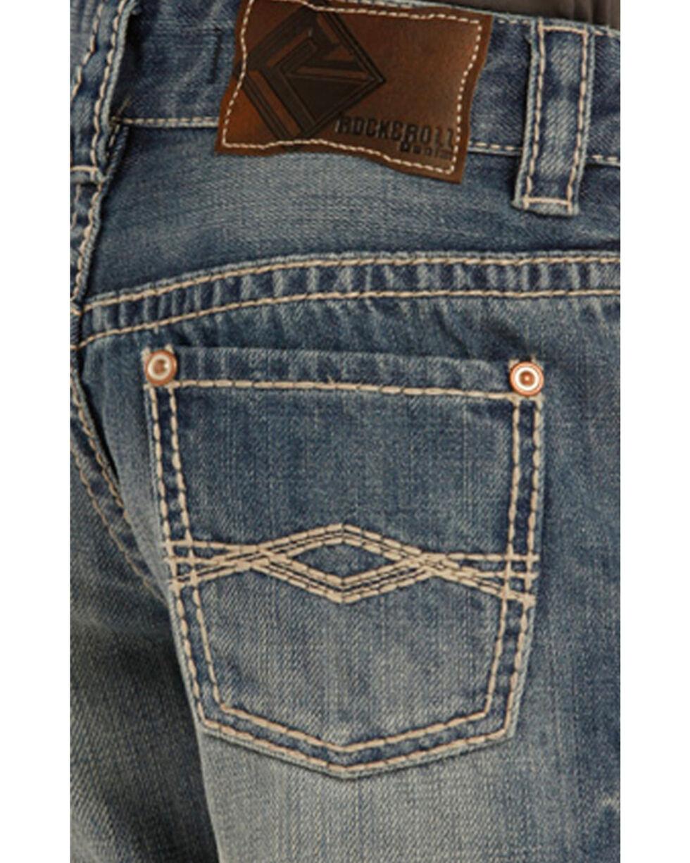 "Rock & Roll Cowboy Boys' Blue ""A"" Embroidery Jeans - Boot Cut, Blue, hi-res"