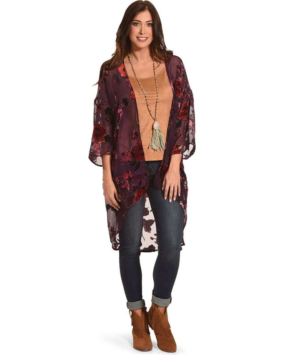 Ivory Love Women's Floral Burnout Kimono, Purple, hi-res