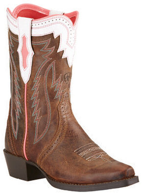 Ariat Youth Girls' Calamity Rodeo Cowgirl Boots - Snip Toe, Tan, hi-res