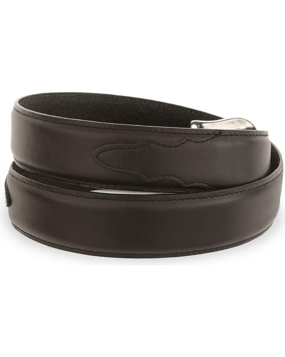 Tony Lama Longhorn Leather Dress Belt - Reg & Big, Black, hi-res